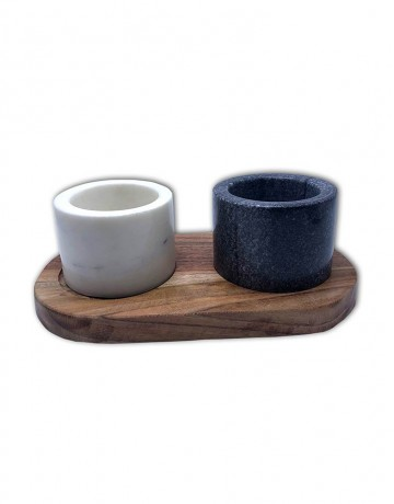 MARBLE SALT PEPPER BOWL WITH WOODEN BASE