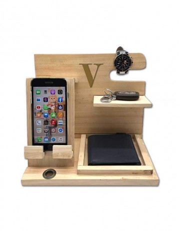 Hastkari Personalized Wooden Multi Utility Desk Organizer Folding Compact With Mobile Charging Dock Station to Organize Personal Accessories.