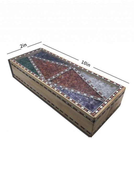 GEM STONE BOX TEAK WOOD