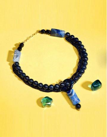 HASTKARI Blue Beaded Stone Necklace