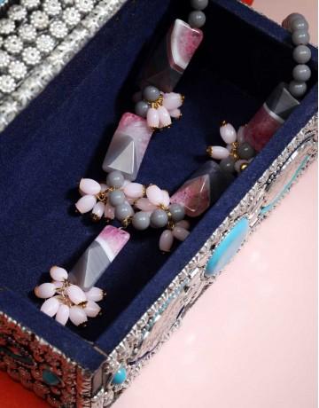 HASTKARI Freaky Pink Grey Stone beaded necklace
