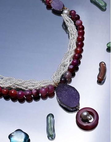 Marvelous designer Purple beaded necklace
